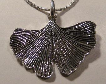 Ginkgo Pendant  ......... Sterling Silver ...       e844