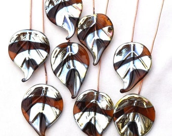 8 Autumn Bling Leaves Head Pins Glass Headpins Handmade lampwork glass headpins by Beadfairy Lampwork