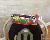 Cute NEW DESIGN Flowers and Hot Pink Chevron REVERSIBLE Car Seat Handle Arm Pad with Hand Grip