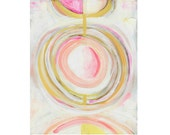 Abstract giclee pastel pink white yellow circles wall art print 'Circles One'
