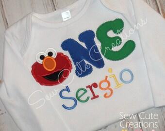 First Birthday shirt, Elmo Birthday shirt, Elmo First birthday Shirt, Boy Birthday shirt, 1st birthday shirt, One Elmo, sew cute Creations