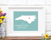 Wedding Gift, North Carolina State Map Art Print, Custom Wedding Gift, Bridal Shower Gift, Southern Bride, Shower Gift - 8x10