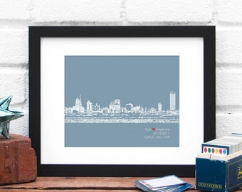 Personalized Buffalo, New York Wedding Gift, Engagement Gift City Skyline Art Print Personalized Buffalo NY Poster Wedding Decor Modern Home