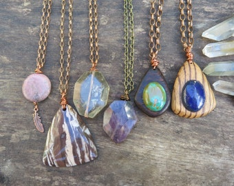 Choose your Pendant Necklace - Crystal Wood Copper / Brass Chain - Bohemian Free Spirited Jewelry - Minimalist - Boho Wood Layering Jewelry