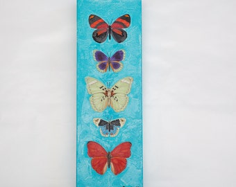 Butterfly Collection (Teal)-Original Oil Painting 4 x 12 inches