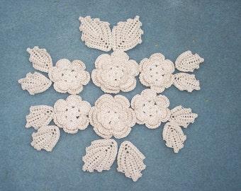 6 handmade ecru crochet applique flowers with leaves  --  2469