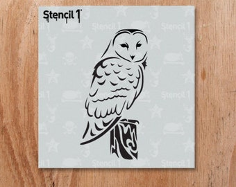 "Barn Owl Stencil- Reusable Craft & DIY Stencils- S1_01_140_S -Small-(5.75""x6"")- By Stencil1"