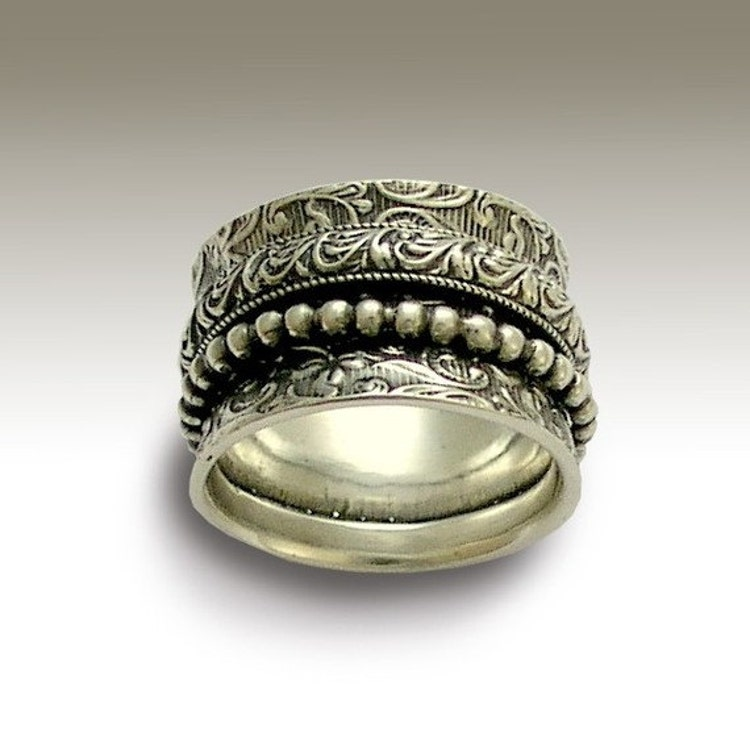 sterling silver band meditation ring wedding band by