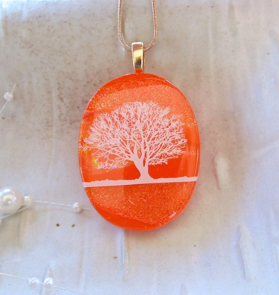 LARGE, Dichroic Fused Glass Pendant, Enamel Tree, Necklace, Glass Jewelry, Orange, White, Necklace Included, A2