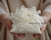 Ivory  Wedding ring pillow with ivory curly flower---ring bearer pillow, wedding rings pillow , wedding pillow