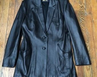 Vintage MANUEL western wear black leather jacket custom made Nashville cowgirl steampunk cosplay biker babe rockabilly