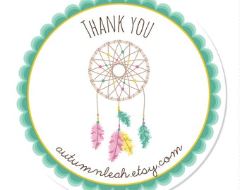 Personalized Stickers -- Dreamcatcher  --  Thank You, Address Labels, Personalized Labels, Party Favor -- Choice of Size