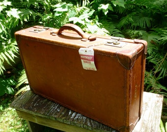 Brown Leather Briefcase - Vintage 1900's Luggage Suitcase Attache'  - Work Laptop Hard Case Carry On Overnite Bag English Leather