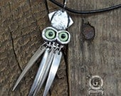Fork Squid Pendant - With Green Glass Eyes - Handmade From Antique Recycled Fork Tines - Steampunk Cephalopod Jewelry by Doctorgus