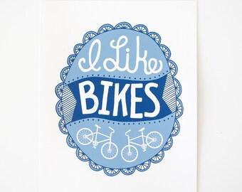 bike art print i like bikes