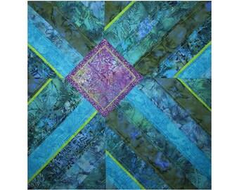 Art Quilt, Fabric Wall Hanging, Blue & Green Fiber Art, Abstract Water Art