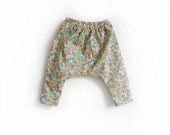 Liberty girls baby pants, cotton floral harem trousers, kids long pants, childrens longies - last pair