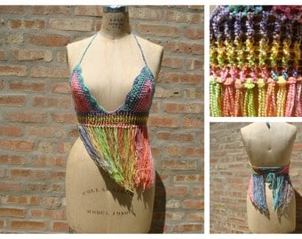 Festival Bra top, Colorful Bra Top, Bikini Top, Crochet Bra Top , Boho,Fringed top, Tank top,Custom Colors
