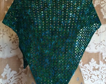 Crocheted Wool Blue Green Teal Triangle Scarf or Wrap or Shawl