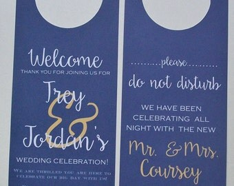 Hotel Door Hangers - Double Sided for Out of Town Wedding Guests - Do Not Disturb - Welcome Bags