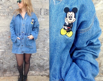 90's Mickey Mouse Denim Jacket / Jean Jacket / Dress Coat / Cinched Waist / Bungee / Hooded / Extra Long / Medium Large / Oversized Cartoon