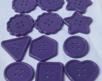 12 jumbo purple assorted shapes plastic buttons new destash supplies for crafting and sewing