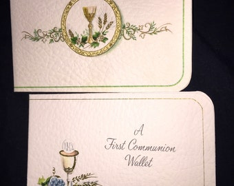 Vintage First Communion Wallet Cards