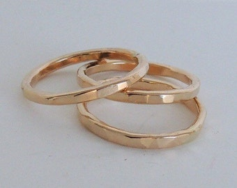 Golden Stackable Stacking Rings Set - Set of three golden band rings