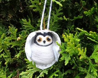 Needle Felted Penguin in Walnut Heirloom ornament