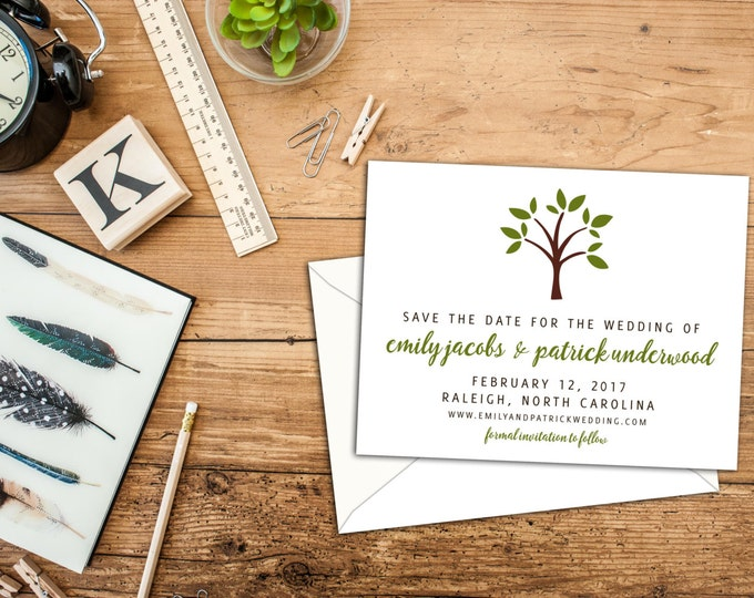 Simple Cute Tree Save the Date, Engagement Announcements, Natures Simplicity Save the Dates, Nature or Garden Event Invitations