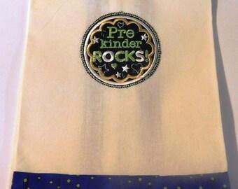 PreKinder(garten) Rocks Embroidered Kitchen Towel; Teacher Gift; Kitchen Towel,PreKindergarten,Teacher love