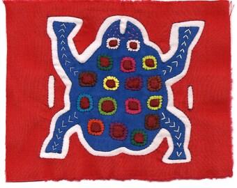 Blue Frog Mola/Molita - Hand Stitched Kuna Indian Reverse Applique
