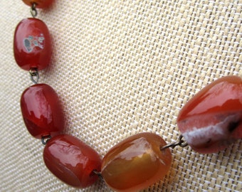 Root Beer Necklace - highly polished red orange agate stone beads on  bronze necklace - Free Shipping to USA