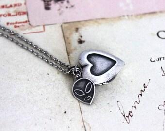 alien. heart locket necklace. in silver ox jewelry