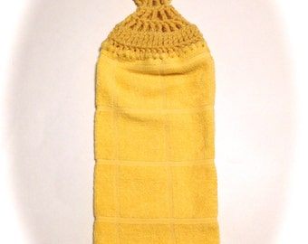 Yellow Hand Towel With Cornmeal Yellow Crocheted Top
