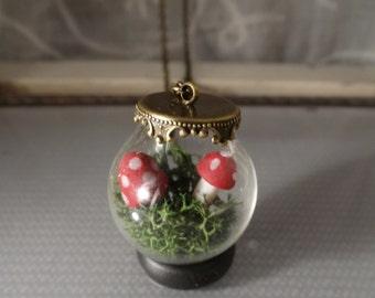 Miniature moss and amanita, mushroom, shroom, woodsy, earthy, fungus, terrarium garden, glass globe necklace