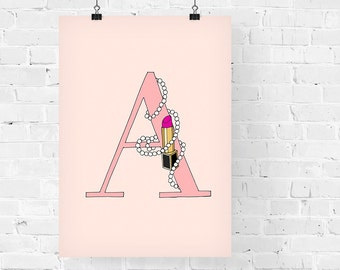 Lipsticks and Pearls Letter of your Choice Pink Print