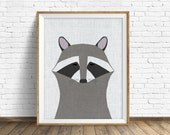 Racoon - art print, large art, mid century modern wall art, art for kids, nursery decor, nursery wall art, kids room art, animal print, art