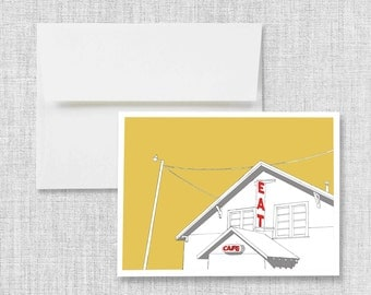 "greeting card, blank greeting card, greeting card set, greeting cards handmade, drawing, vintage cafe - ""Truck Stop Cafe"""