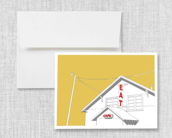 "greeting card, blank greeting card, greeting card set, greeting cards handmade, drawing, vintage cafe - ""Truck Stop Cafe"""