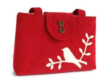 Corduroy Shoulder Bag - Bird on Branch Applique - Purse - Tote - Cherry Red - Vegan