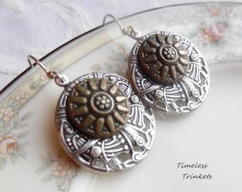 Antique Button Earrings- Autumn Delight Sunflower