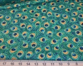 Fabric Fat Quarter - Majestic Peacock Feathers in Royal Blue and Green - fiber arts crafts home decor crafts quilting