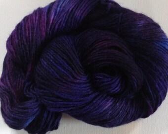 Hand dyed merino tussah silk dk  3.5 ozs 100 g 210 yards Blackberry