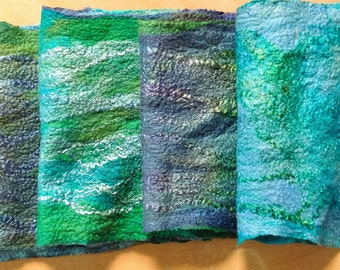 Hand felted Nuno scarf in polwarth and silk Scottish Landscape