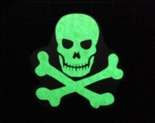 Glow-in-the-dark Skull and Crossbones Vinyl Decal