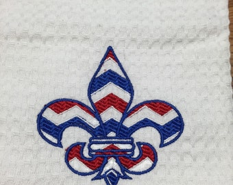 Red, White and Blue Fleur de Lis Emboridered Kitchen Towel