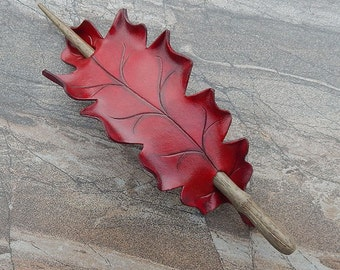 Leather Stick Barrette | Red Oak Leaf in Deep Crimson and Burgundy | Hairstick, Hair Slide or Shawl Pin