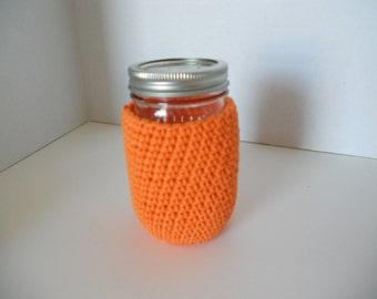 Crocheted Mason Jar cozy in orange