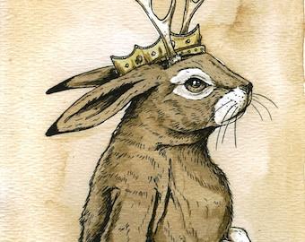 Jackalope  King  (an original hand painted king)